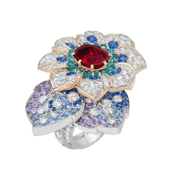 'Azalee d'Orient' ring from the 'Treasure of Rubies' collection with ruby, sapphire, tourmaline, emerald and diamond in18k pink gold