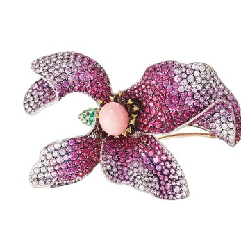 'Lily' brooch with conch pearl, sapphires, tsavorite and diamonds