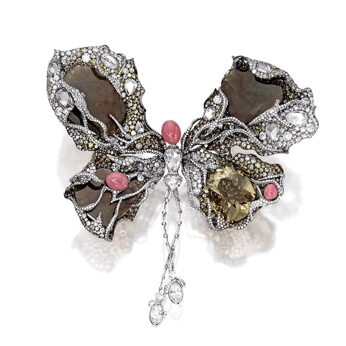 2014 Masterpiece 'Ballerina Butterfly' brooch with conch pearls, yellow, brown and colourless diamonds in titanium and 18k white gold