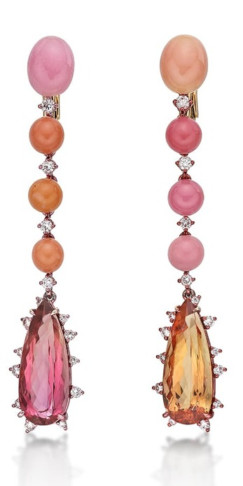 'Full circle' earrings with conch pearls, Imperial topaz, topaz and diamonds in 18k rose gold
