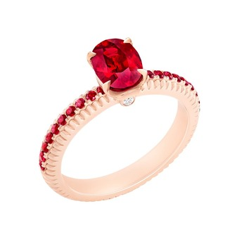 'Three Colours of Love' ring with 2.30ct ruby and accenting rubies and diamond in rose gold