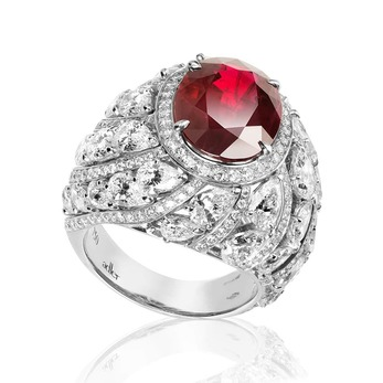 'Palais des Vents' ring with oval ruby and diamonds in white gold