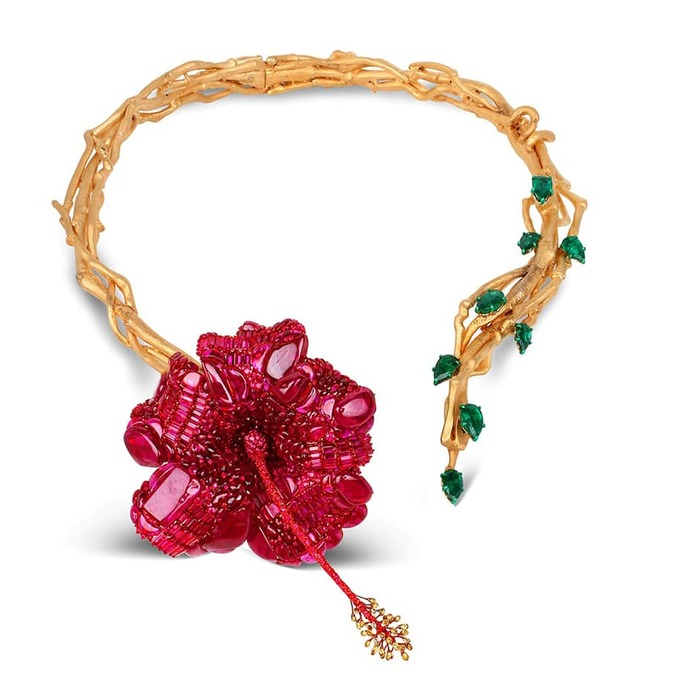 'Hibiscus' necklace with rubies and emeralds in yellow gold