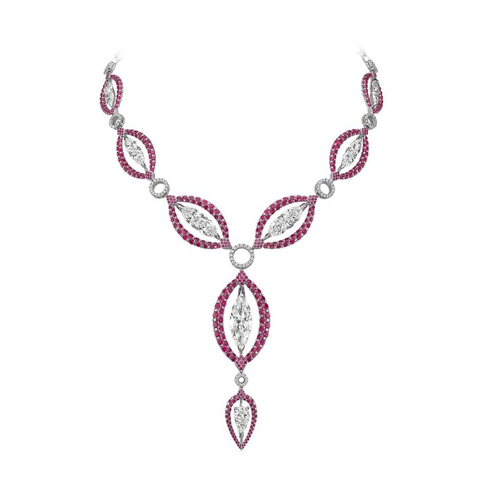 'Les Merveilles' reversible necklace with 24.94ct rubies and diamonds in white gold