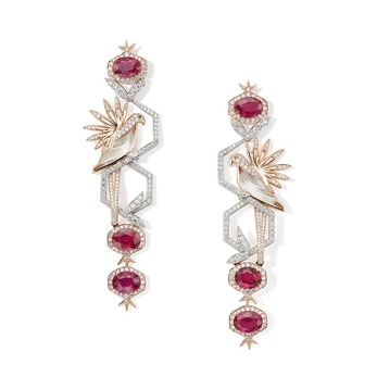 'Wonderland – Always a Story' collection 'Parakeet & Pomegranate' earrings with 12.92ct rubies, diamonds and rock crystal in platinum and rose gold