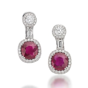 'Special Gem' earrings with Burmese rubies and diamonds in white gold