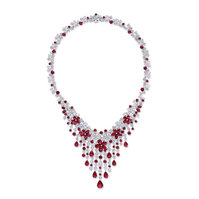 'Carissa' necklace with rubies and diamonds in white gold