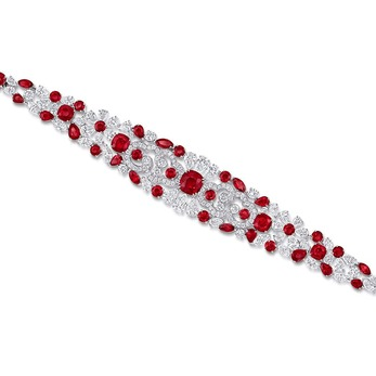 'Nuage' bracelet with 5.04ct central Burmese rubies, 31.19ct accenting rubies and diamonds in white gold