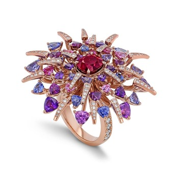 'Red Dahlia' ring with oval cut 2.18ct Burmese ruby, trillion cut sapphires and brilliant cut diamonds in rose gold