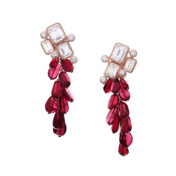 'Grappes' earrings with rubies and diamonds in yellow gold