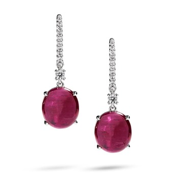 Earrings with Greenland ruby and diamonds in white gold