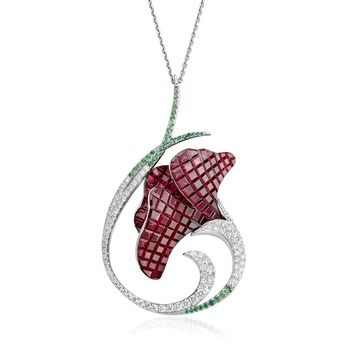 'Floral' collection pendant with rubies, diamonds and emeralds in white gold