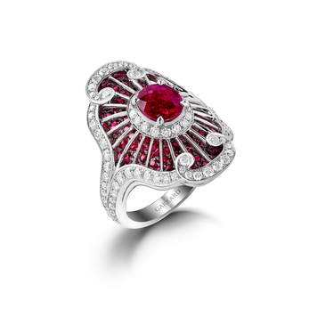 'Jewelled Vault' ring with total of 4.55ct rubies and diamonds in white gold