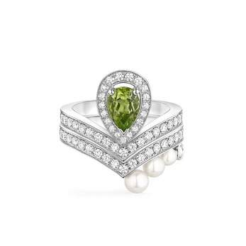 'Joséphine Aigrette' ring with peridot, diamonds and pearls in white gold