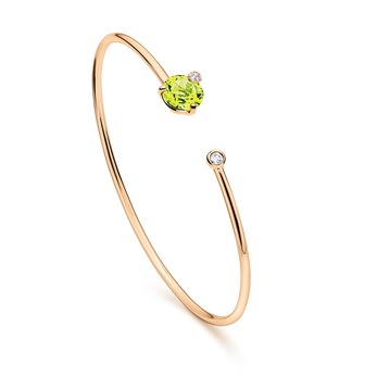 'Peekaboo' collection bangle with peridot and diamond in rose gold
