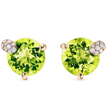 'Peekaboo' collection stud earrings with peridot and diamonds in rose gold