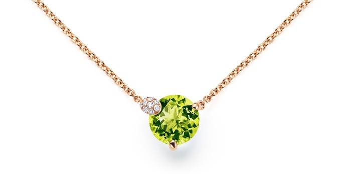 'Peekaboo' collection pendant with peridot and diamonds in rose gold