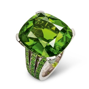 Ring with peridot and demantoid garnets in white gold