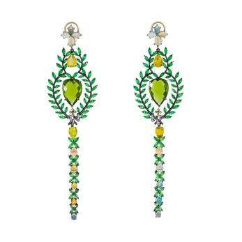 'Queen of Sheba' earrings with peridot, diamonds, yellow sapphires, tsavorites, opals and tourmaline in black rhodium plated gold