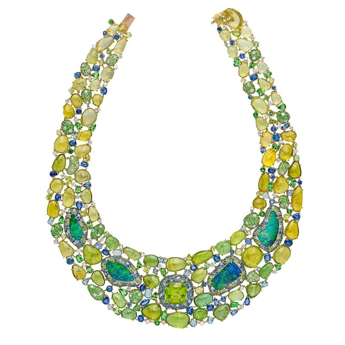 Necklace with peridot, black opal, tourmalines, sapphires, diamonds and tsavorites in yellow gold