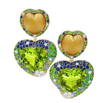 'Hearts Desire' earrings with peridot, South Sea pearls, diamonds, sapphires and tsavorites in yellow gold