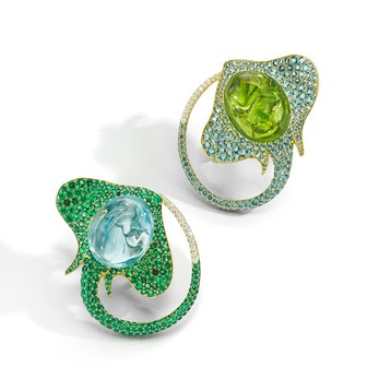 'Stringray' earclips with peridot, aquamarine, tsavorites and diamonds in yellow gold