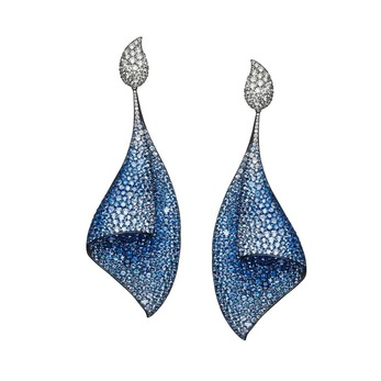 Sail earrings with blue sapphires and diamonds