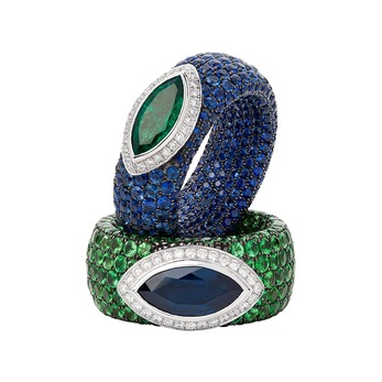 Rings with sapphires, emeralds and diamonds