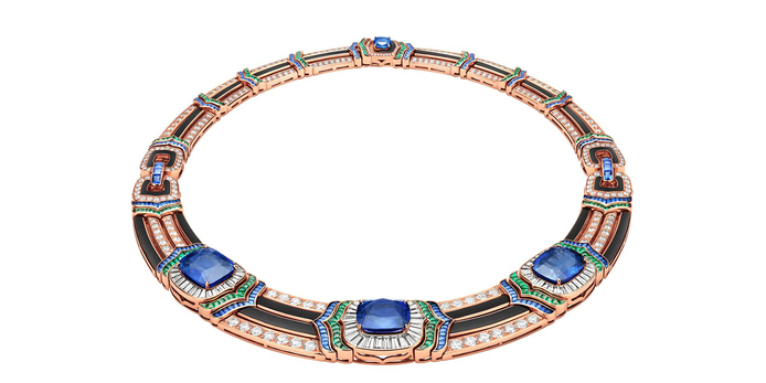 Necklace with sapphires, diamonds, onyx and emeralds