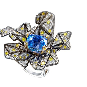Cubism ring with sapphires and diamonds