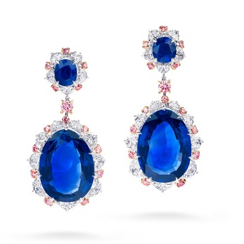 Earrings with Burmese sapphires and diamonds