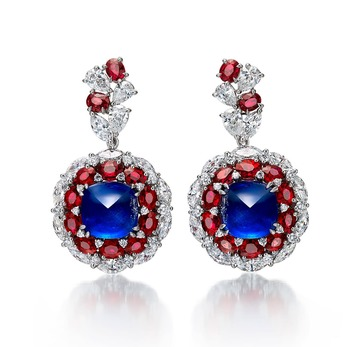 Earrings with sapphires, rubies and diamonds