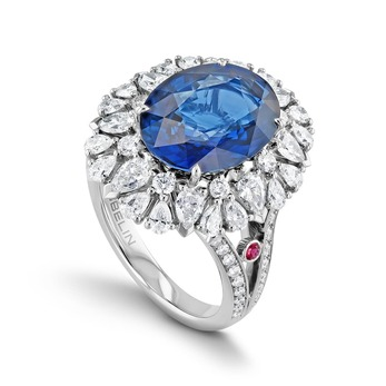 Ring with sapphire, diamonds and rubies