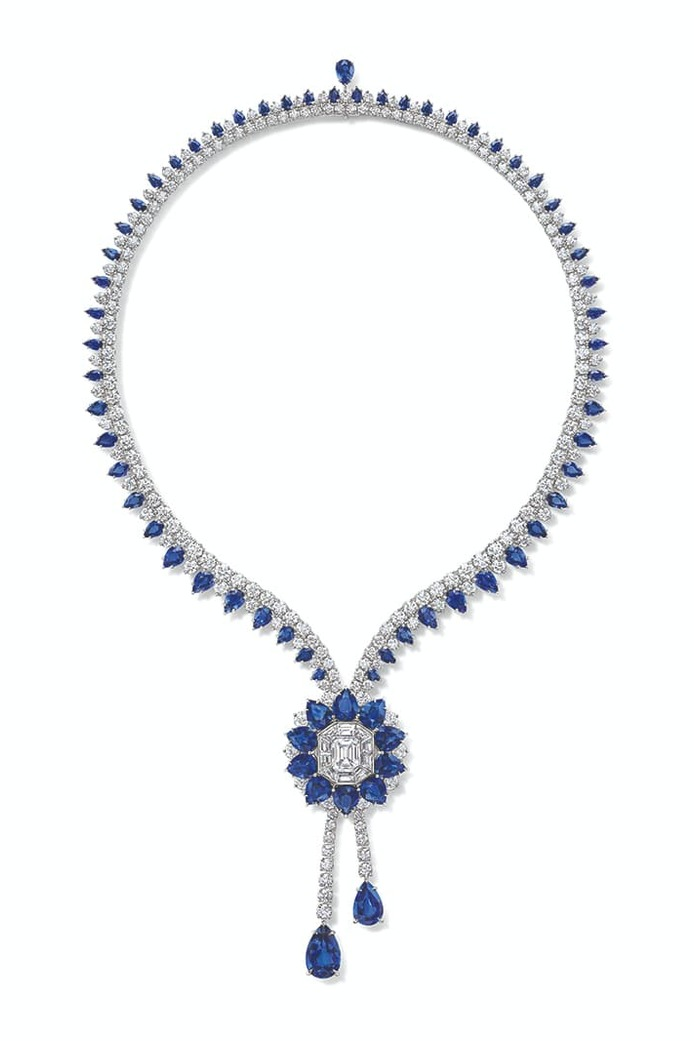 Marble Marquetry necklace with sapphires and diamonds