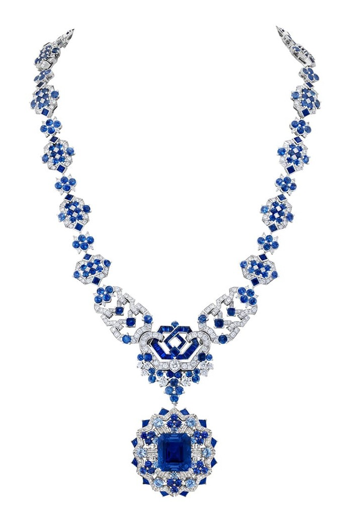 Verona transformable sautoir with sapphires and diamonds