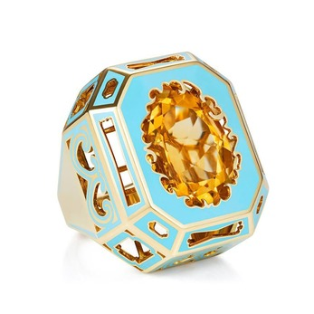 'Majesty' ring with citrine and enamel in yellow gold