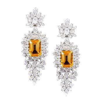 Earrings with citrine and diamonds in white gold