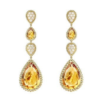 Serpent Bohème earrings with citrine and diamonds in yellow gold