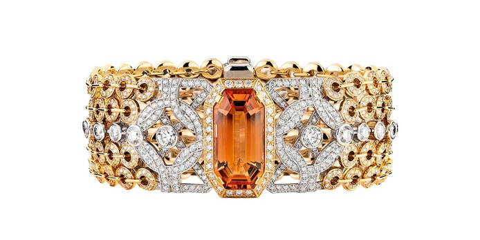 'Secrets d'Orient' topaz bracelet with citrine and diamonds in yellow and white gold