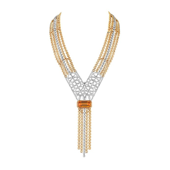 'Secrets d'Orient' necklace with topaz and diamonds in yellow and white gold