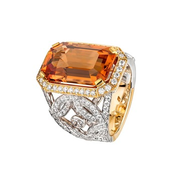 'Secrets d'Orient' ring with topaz and diamonds in yellow and white gold
