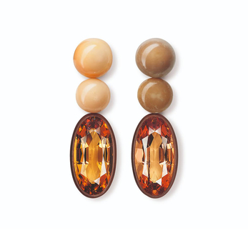 Earrings with Imperial topaz and conch pearls in pink gold and copper