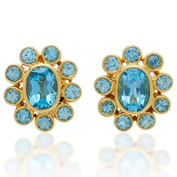 Earrings with topaz in yellow gold