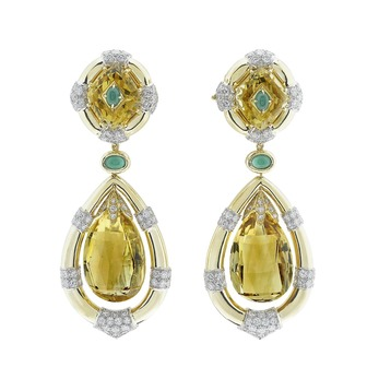 Earrings with citrine, emerald and diamonds in yellow gold