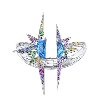 High jewellery ring with topaz, sapphire, garnet and diamonds in white gold