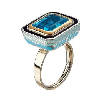 'Silver Tile Swiss' ring with topaz and enamel in yellow gold