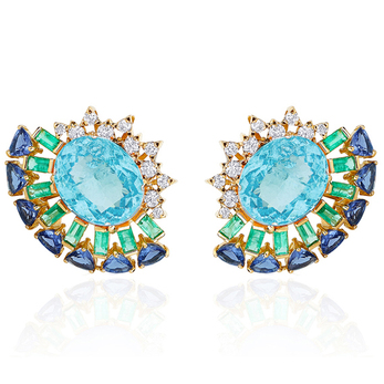'Magic' earrings with topaz, emerald, sapphire and diamonds in yellow gold