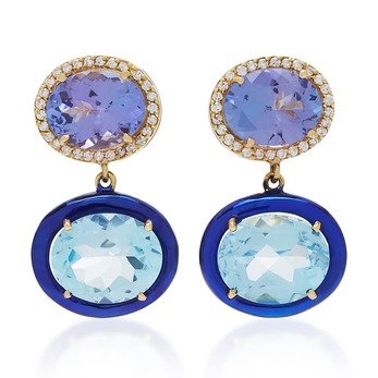 Earrings with topaz, enamel and tanzanite in yellow gold