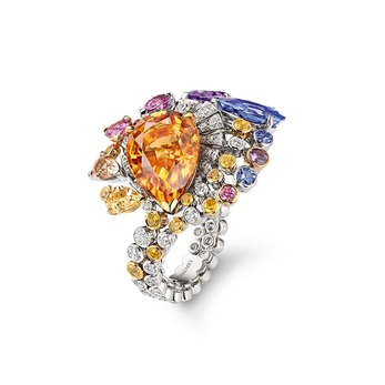 'Lueurs D'Orage' ring with Imperial topaz, sapphires and diamonds in white gold