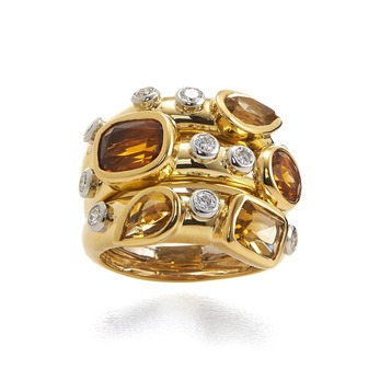 Ring with citrine, topaz and diamonds in yellow gold